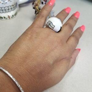 SILVER  WHITE BLACK DIAMOND COCKTAIL RING